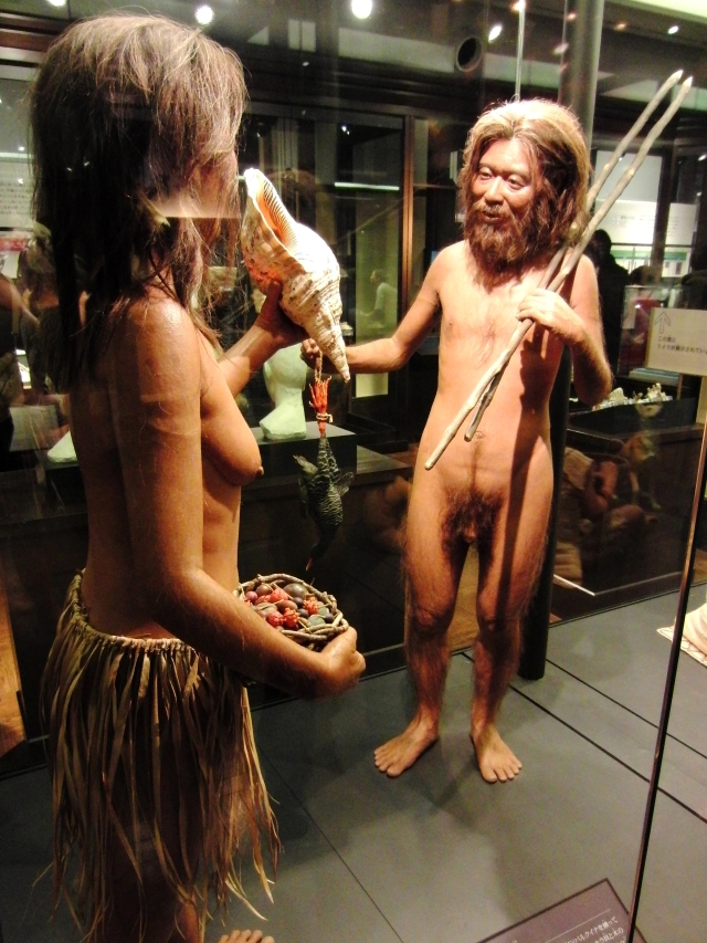 Restoration model of Minatogawa Man. Exhibit in the National Museum of Nature and Science, Tokyo, Japan.