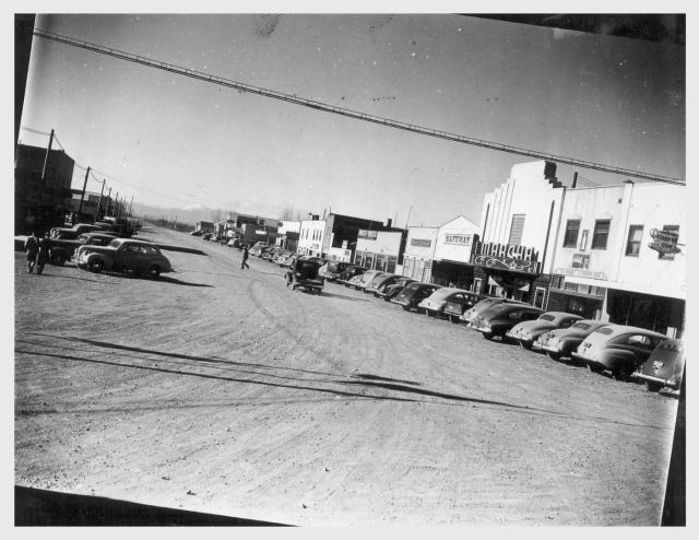 Newell, California. 4/23/42, Tulelake, view of a main street of this town which is located near the site selected for the construction of a War Relocation Authority center for the housing of evacuees of Japanese ancestry for the duration.