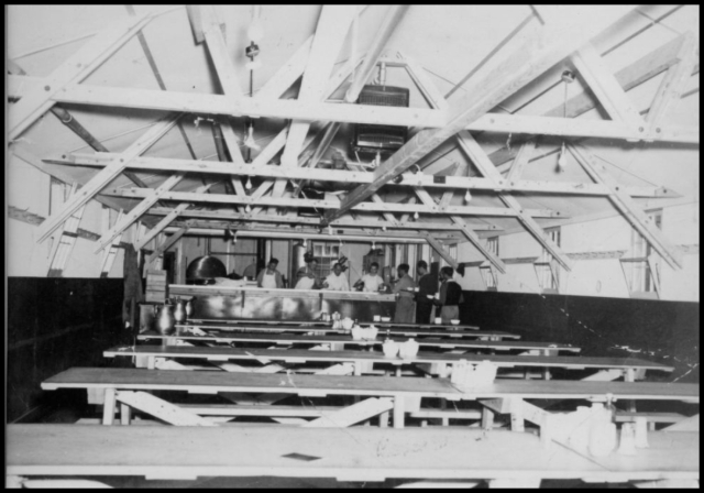Inside view of mess hall at Tule Lake Relocation Center. 1943. Source.