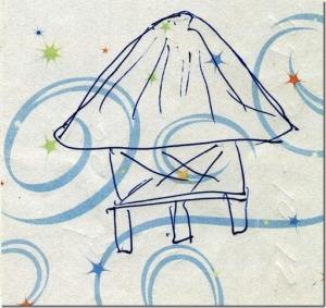 My Dad's sketch of an elevated Okinawan storehouse in Oyakawa village in Haneji.