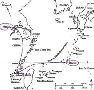 Okinawa to Chuang-chou (Quanzhou) route.