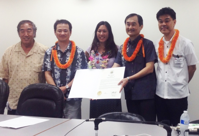 Former Representative Dennis Arakaki is on far left, Senator Maile Shimabukuro is in the center, with the Okinawan Prefectural Board of Education officials. Click image to enlarge.