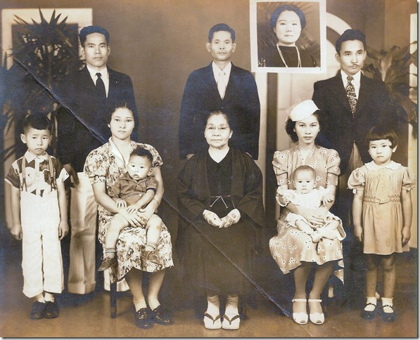 In the Inafuku family photograph below, uncle Raymond Hotoku Inafuku is standing on Hoichi's right and my Dad, Ronald Hozo Inefuku, is standing on Hoichi's left.  My Mom, Gladys, is holding my sister Gwen in her lap.  Gwen was born in Dec 1939.  My Dad's twin sister aunty Annie could not make it... so a photograph of her was added.  Our grandmother, Kamado Inafuku, is sitting in the middle and uncle Raymond's wife Lillian is sitting on grandma's right with son Donald in her lap.  The other kids in the photograph are also their children.