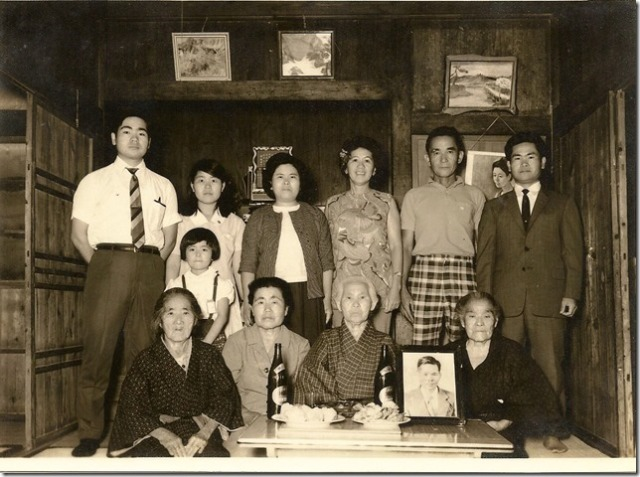 photograph of the Inafuku family in Okinawa below was taken in the Inafuku Taira house's middle room.  Standing from left to right, Yasuo's younger brother Yasumune, Yasuo's sister Toyoko, my Dad's wife Ruth, my Dad with the checkered shorts, and cousin Yasuo wearing the dark business suit.  Yasuo's youngest sister Mitsuko is the little girl standing. Sitting from left to right is Yasuo's mother-in-law Sho Tokuda, Hoichi's widow Kame Inafuku, Hoichi and my Dad's aunty Toku Shinjo, and Kamado Taira Inafuku who is uncle Hoso Inafuku's wife who my Dad lived with when he was in Okinawa as a little boy.