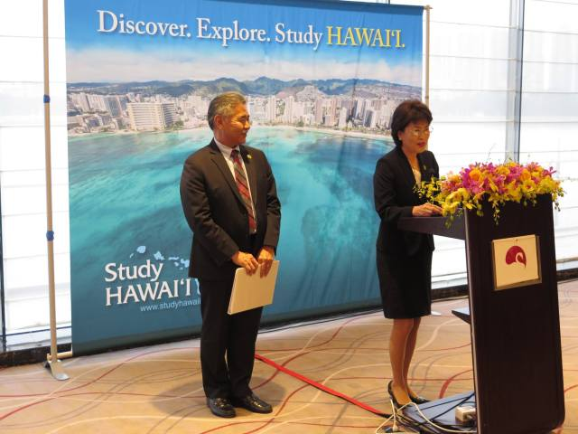 Governor and First Lady each providing remarks at the Study Hawaii education seminar attended by over 150 school administrators, students, parents and education marketing consultants. Nineteen representatives from fifteen Study Hawaii institutions participated in the mission to Guangdong Province.