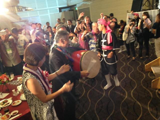 These guys know how to have a good time! Getting into the celebrations at the 30th anniversary sister state reception. (10/9/15) — in Naha, Okinawa.