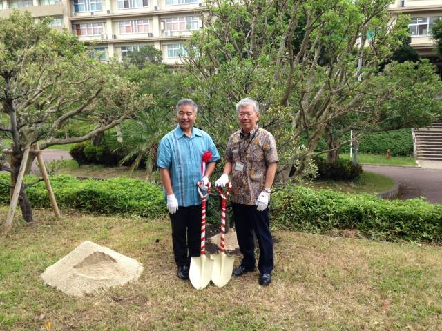 We spent the afternoon planting a memorial tree. (10/9/15) — in Ginowan, Okinawa.