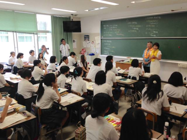 Dawn and I enjoyed talking to the students at Naha Kokusai High School. (10/9/15) — in Naha, Okinawa.