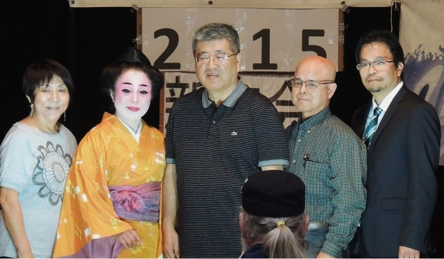 Directors, L-R: Juli Kodani (Treasurer/Newsletter Editor), Kinuko Mototake (Dir. Culture/Arts), Matt Matayoshi (Co-Vice President), Yasutomi Makishi (Co-Vice President), Wesley Ueunten (President).