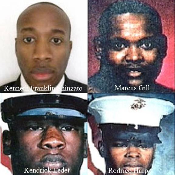 Kenneth Franklin Shinzato, Navy Seaman Marcus Gill, Marine PFC Kendrick Ledet, Marine PFC Rodrico Harp